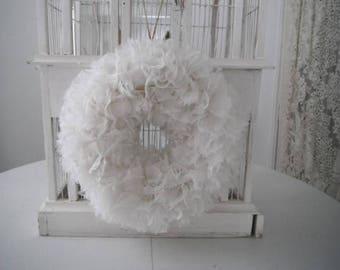 white rag wreath PETITE wreath nursery decor wedding wreath porch decor cottage chic shabby decor fluffy wreath lace and tulle wreath
