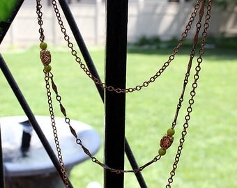 Long 3 Strand Necklace - Green Beads and Chains, 1970s Boho Style