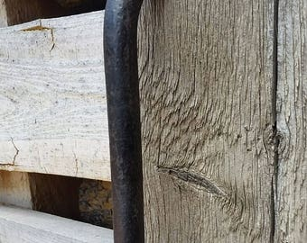 Large heavy duty hand forged barn door handle or gate pull