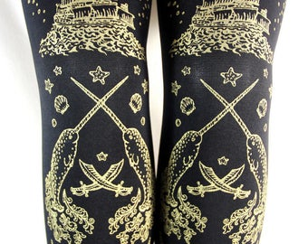 Pirate Footless Tights Narwhals Extra Large Plus Size Gold on Black XL Tattoo Sailor Anchor Nautical