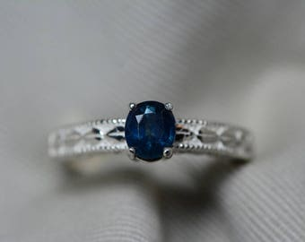 Sapphire Ring, Blue Sapphire Solitaire Ring 0.76 Carat Appraised at 600.00, September Birthstone, Natural Sapphire Jewelry, Oval Cut