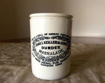 Large 2 lb Vintage James Keiller & Son Ltd DUNDEE Marmalade jar / Pottery Jar. Vintage home / Vintage decor.