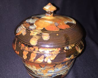 Sugar bowl small lidded pot dark natural glazes