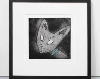 Siamese cat print, cat etching, siamese cat picture, cat art, siamese cat portrait, fine art, wall decor, cat lover gift, unframed