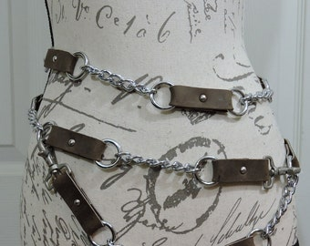 Multi ring belt , Chain Belt, Costume, Steampunk, Larp, Wasteland, Mad Max, Post Apocalyptic