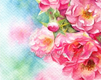 Roses - ORIGINAL watercolor painting 7.5x11 inches