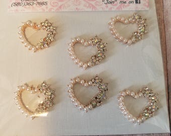 Pearl Hearts with Bling, Flat Backs,