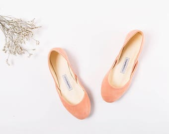 The Suede Ballet Flats in Apricot | The Bridal Shoes in Apricot | The Pointe Style Shoes in Apricot | Ready to Ship