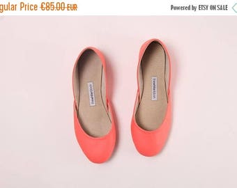Summer Sale Handmade Leather Ballet Flats | Pop Coral | Ballet Flats | Ready to Ship