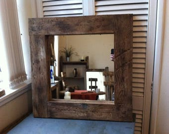 Square rustic reclaimed wooden mirror