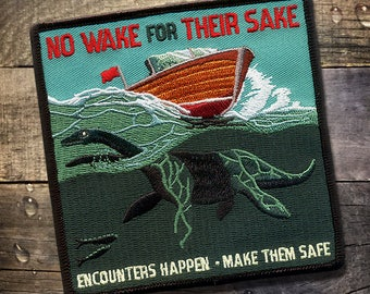 Boat Safety PSA Patch - Loch Ness Monster, Nessie, Scotland, Boating, Lake, Lakeside, Lakehouse