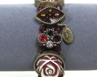25% Off Vintage Cookie Lee Panel Stretch Bracelet, Roses and Red Rhinestones