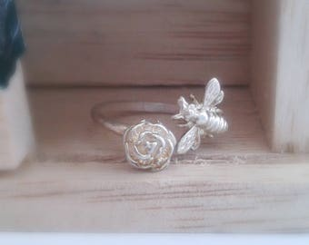 Silver Rose Ring - Silver Bee Ring - Sterling Silver Bee Stacking Ring Set - Spiritual Jewelry -  Adjustable Flower and Honeybee Jewelry