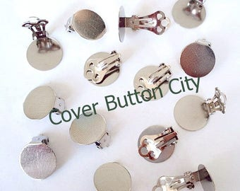 100 (50 pairs) Clip On Earrings 15 mm Pad