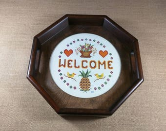 Vintage Needlepoint Tray Welcome Flowers Hearts Basket Ducks Pineapple Handles Serving Housewarming Gift Hexagon