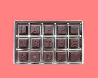 ship AFTER 8/7 18th Birthday Gift Him Her Teenager 18 Years Old Teen Boy Girl Milk Chocolate Message Letters Happy 18th B Day Cute Cool Crea