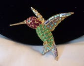 Pell Ruby Throated Hummingbird Swarovski Austrian Crystal 24K Gold Plate Vintage Bird Brooch Pin