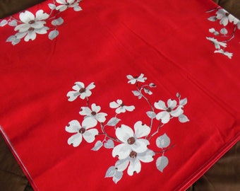 Gorgeous Dogwood on Background Tablecloth, 1950s Tablecloth