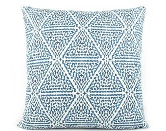Chevron Indigo Blue and White Pillow Cover, Choose Your Size, Eurosham or Lumbar Pillow, Throw Pillow, Accent Pillow, Lacefield Miguel Azure