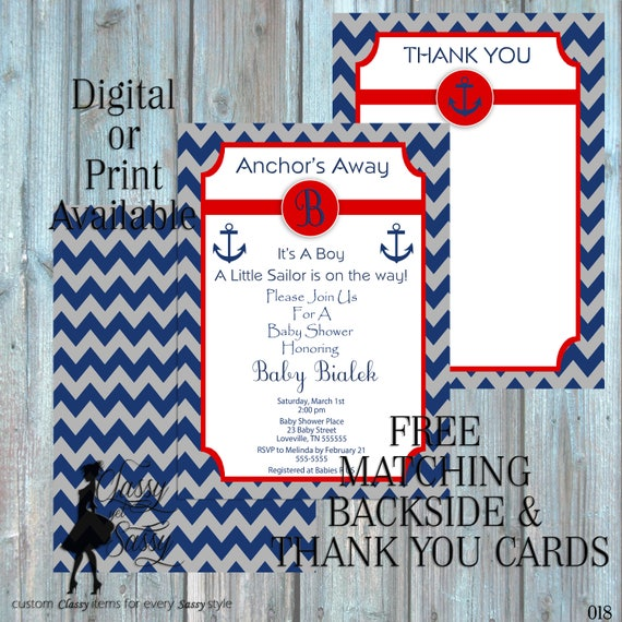 Anchor Baby Shower Inviation, Nautical Baby Shower Invitation,  Navy theme Baby Shower Invitation, It's A Baby Shower Invite, 018