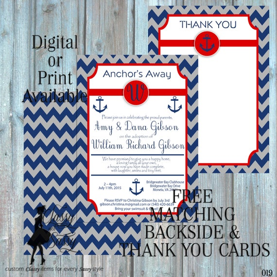 Anchor Baby Shower Inviation, Nautical Baby Shower Invitation,  Navy theme Baby Shower Invitation, It's A Baby Shower Invite, 019