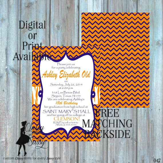 Orange and blue Invitation, Tiger Invitation, Clemson invitation, pawprint birthday invitation 047