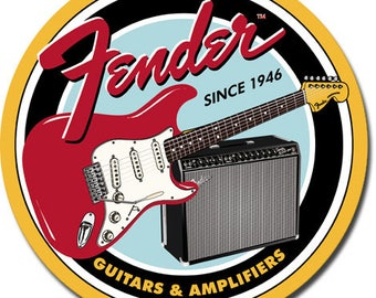 "Fender Guitars & Amplifiers since 1946 round metal sign, fender stratocaster    approx. 12"" round"