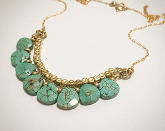 Turquoise necklace, Boho necklace, Statement necklace, Gift for her, Gold turquoise necklace, Gold statement necklace, Howlite necklace
