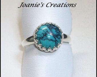 Chinese Turquoise 10mm Ring in Sterling Silver