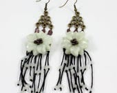 Reserved for Syrie - Custom Order Jade Flower Chandelier Earrings