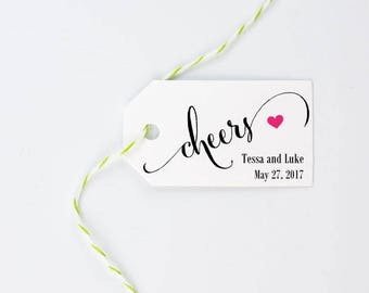 """Cheers Tag - Mini Tag for Wine, Champagne, New Years, Wedding, Party Favors, Bachelorette, Birthday - Set of 25, Size 1.25"""" x 2.25"""", CAN"""