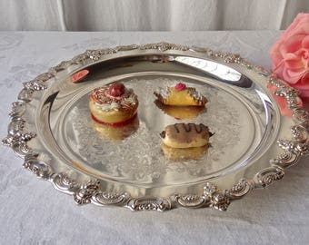 Vintage Serving Tray Silver Plate Mid Century Dining and Entertaining 1960s