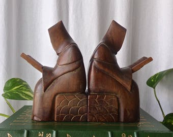 Vintage Hooded Monk Bookends Hand Carved Teak Monks Reading Bookshelf Library Prayer Books Office Decor 1950s