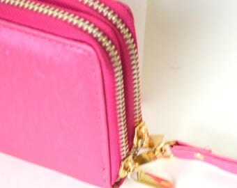 Hot pink clutch with wristlet strap