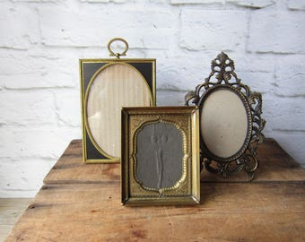 three gold ornate picture frames table top gallery metal frames - Etsy Picture Frames
