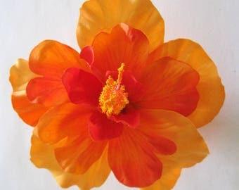 "4.5"" Tropical Orange Tangerine Hibiscus Poly Silk Flower Hair Clip"