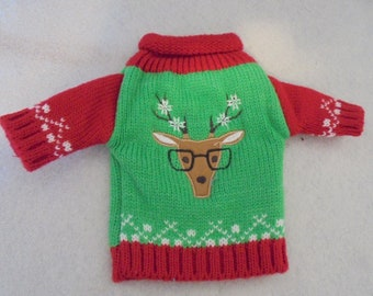 Reindeer Ugly Sweater Wine Bottle Cover - Great Christmas Present