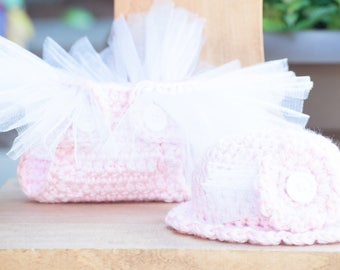 Pink Tutu Diaper Cover and Hat Set