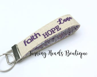 Faith Hope and Love Monogrammed Key Fob  / Personalized Key chain /  Wristlet ScriptureFabric Keychain
