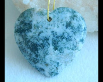 Carved Moss Agate Pendant Bead,Carved Heart Pendant,40x38x7mm,16g(f0704)