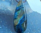 New,Labradorite,Obsidian Intarsia Gemstone Pendant Bead,35x15x6mm,5.2g(P069)