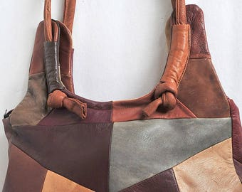 Retro Leather Purse, Patchwork Leather Purse, Boho Retro Brown Bag Mexican Leather
