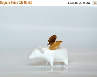 SALE Piggy with gold wings, Ceramic miniature Porcelain figurine, sweet minature animal