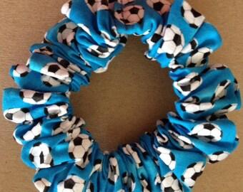 Black & White Soccer Balls Allover Bright Blue Cotton Handmade Scrunchie