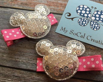 Mickey/Minnie Mouse Inspired Hair Clips Set/Sequin Mouse Ears/No Slip HairClips/pink and silver