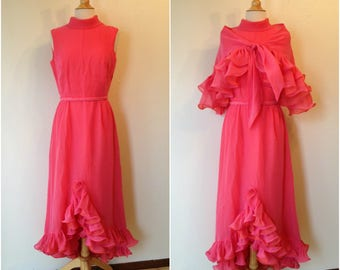 "Vintage 1960s gorgeous Miss Elliette of California pink and orange chiffon evening gown and shawl | Bust 36"" waist 27"""