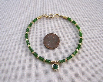 Chrome Diopside gold nugget bead bracelet by Swan Treasures
