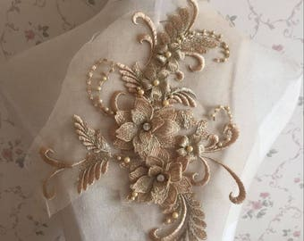 Pearl Beaded Lace Applique 3D Flowers Patch Motif For Costume Wedding Bodice Bridal Veil Accessories High Quality #17 Gold