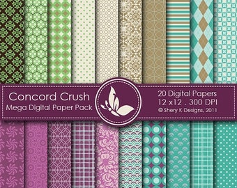40% off Concord Crush Paper Pack - 20 Digital papers - 12 x12 - 300 DPI