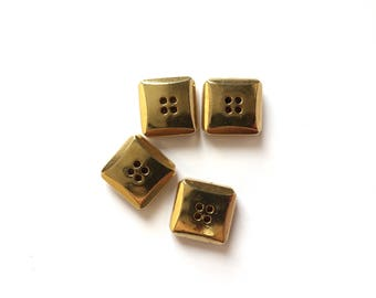 4 Gold Square Buttons, 15mm